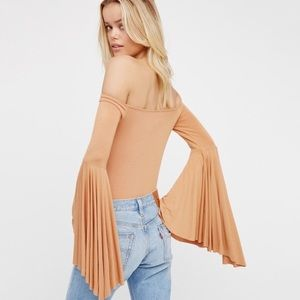 NWT Free People Off the Shoulders Bell Sleeve Top